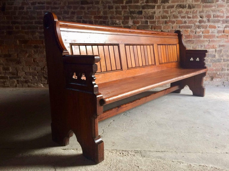 Antique Gothic Pitch Pine Church Pew 19th Century Gothic Revival, 1890 2