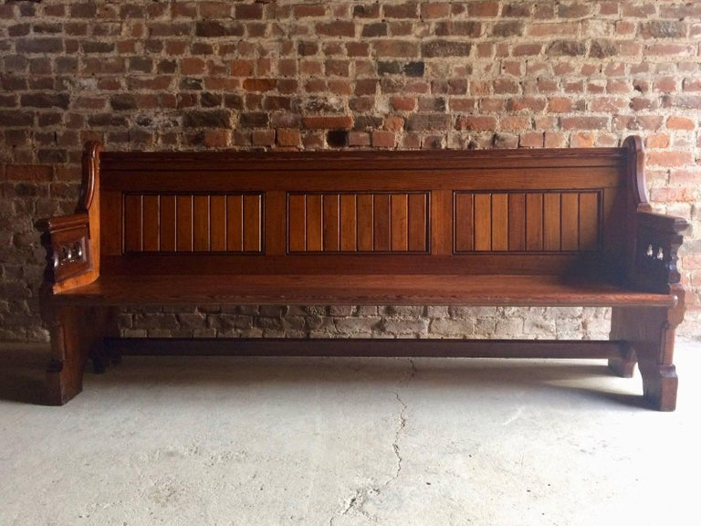 Antique Gothic Pitch Pine Church Pew 19th Century Gothic Revival, 1890 For Sale 4