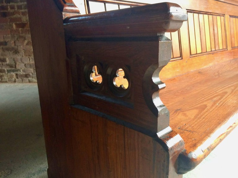 Antique Gothic Pitch Pine Church Pew 19th Century Gothic Revival, 1890 For Sale 1