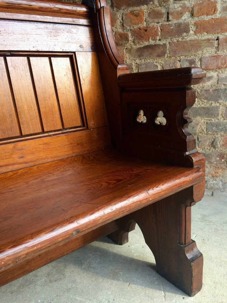 Antique Gothic Pitch Pine Church Pew 19th Century Gothic Revival, 1890 For Sale 3