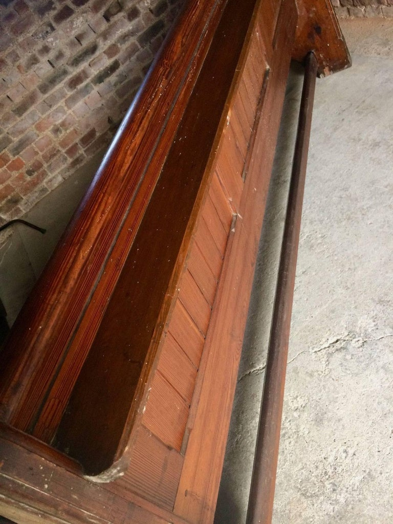 Antique Gothic Pitch Pine Church Pew 19th Century Gothic Revival, 1890 For Sale 6