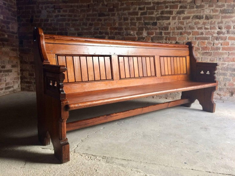 Antique Gothic Pitch Pine Church Pew 19th Century Gothic Revival, 1890 For Sale 7