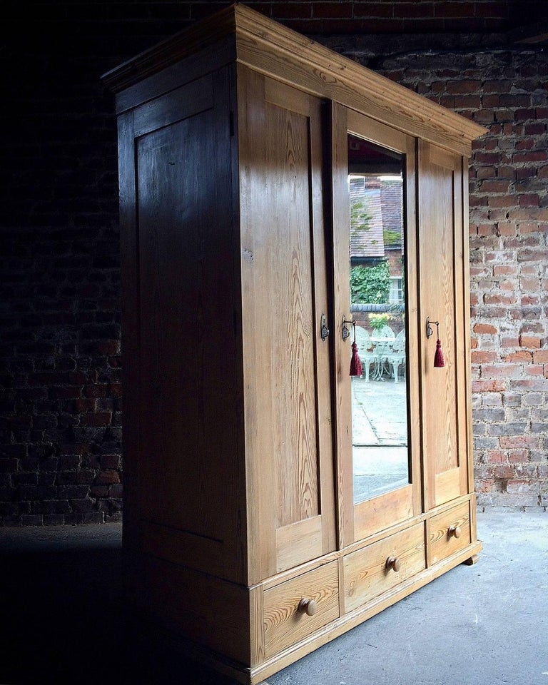 A Beautiful Antique Farmhouse Style French Solid Pine Triple Aspect Wardrobe Armoire Corniced Top Over