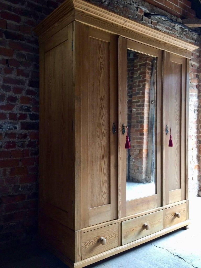 Antique French Solid Pine Armoire Wardrobe Large Triple