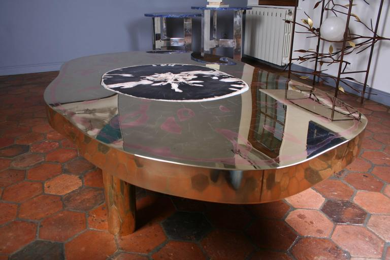 Coffee Table Petrus Black Petrified Wood And Etched Brass By Arriau For Sale At 1stdibs