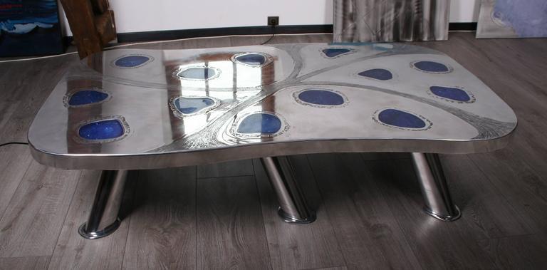 Coffee Table Lunar Etched Metal Fractal Resin By Arriau