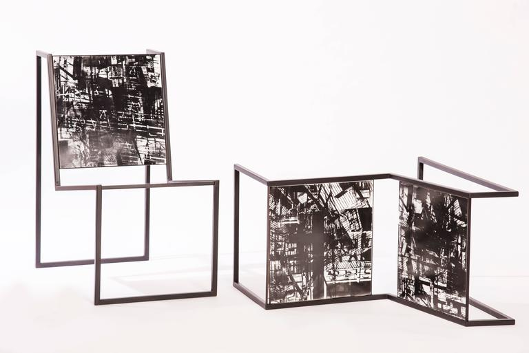 Pedro Barrail's chiaroscuro chairs were created in 2014 as part of his first solo exhibition at Cristina Grajales gallery titled welcome to the jungle. The chairs, which are made of steel tubes and porcelain tiles with photo-collage impressions, can