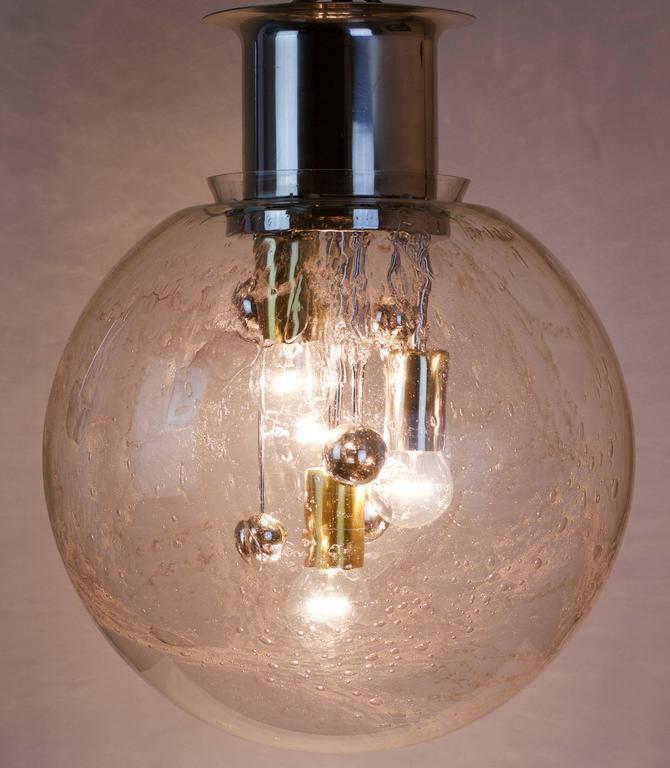 Set Of Three Large Glass Globe Ball Flush Mount Light By