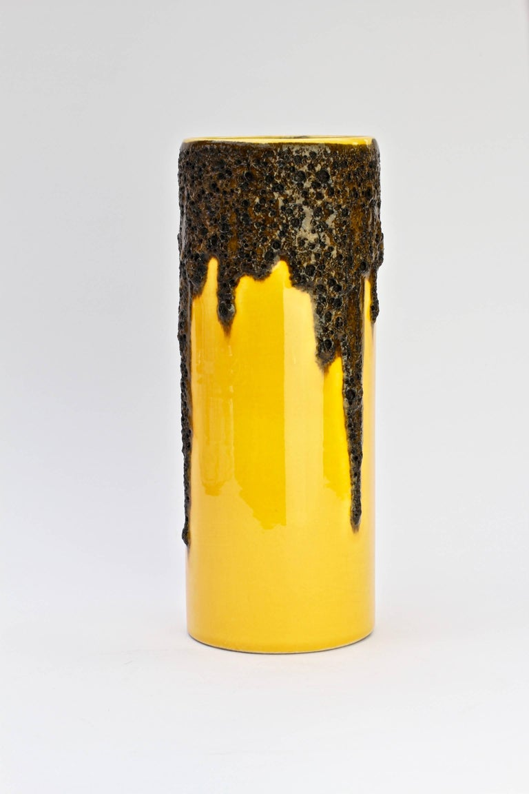 1970s Bright Yellow West German Pottery Fohr Vase With