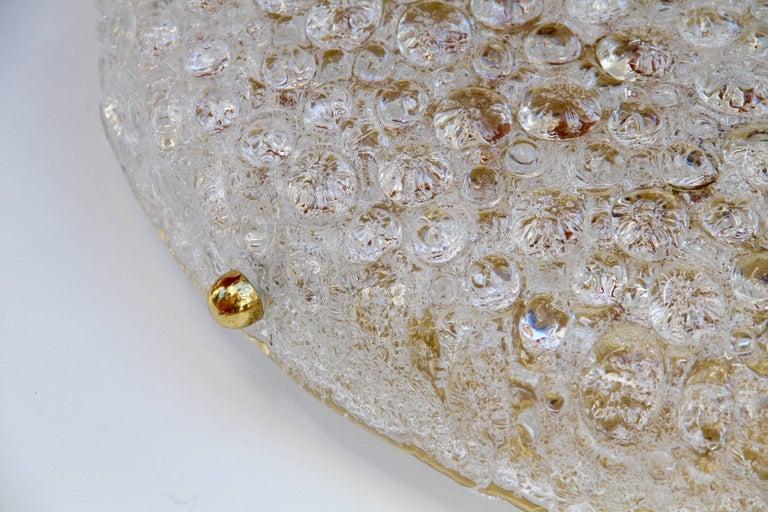 Mid-Century Modern Huge Hillebrand Textured Murano Glass and Brass Flush Mount Light, 1970s For Sale