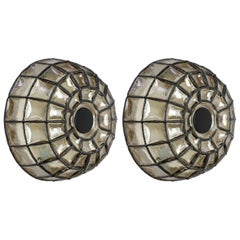 Limburg Pair of German Midcentury Black Iron and Glass Domed Wall Light Sconces