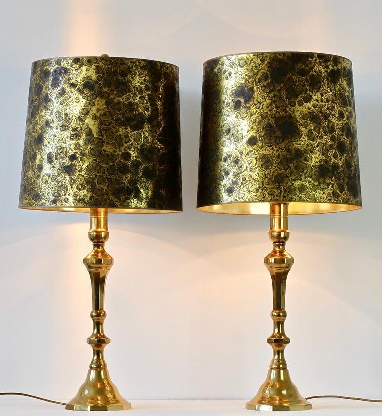 Mid-Century Modern Pair of Oversized Midcentury Brass Floor / Table Lamps For Sale