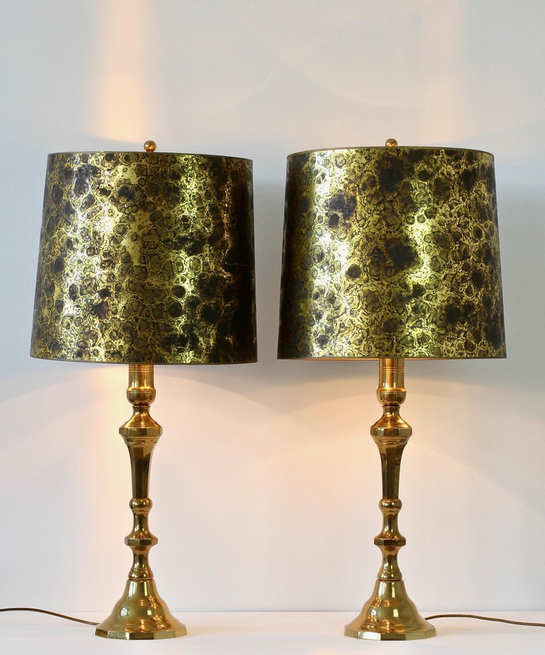 French Pair of Oversized Midcentury Brass Floor / Table Lamps For Sale