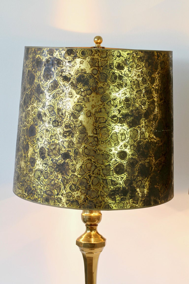Cast Pair of Oversized Midcentury Brass Floor / Table Lamps For Sale