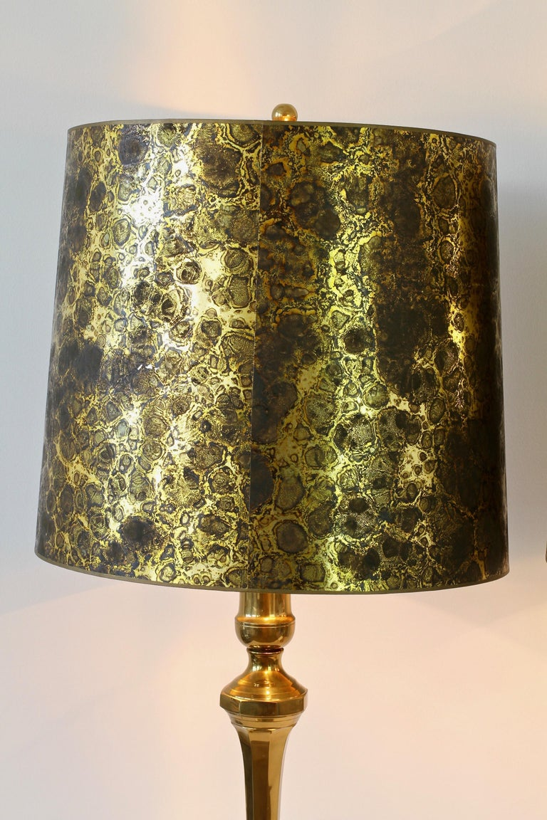 Late 20th Century Pair of Oversized Midcentury Brass Floor / Table Lamps For Sale