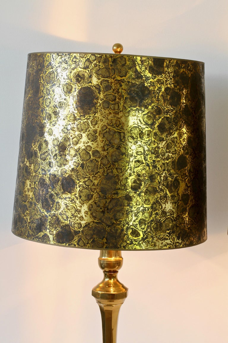 Pair of Oversized Midcentury Brass Floor / Table Lamps For Sale 1