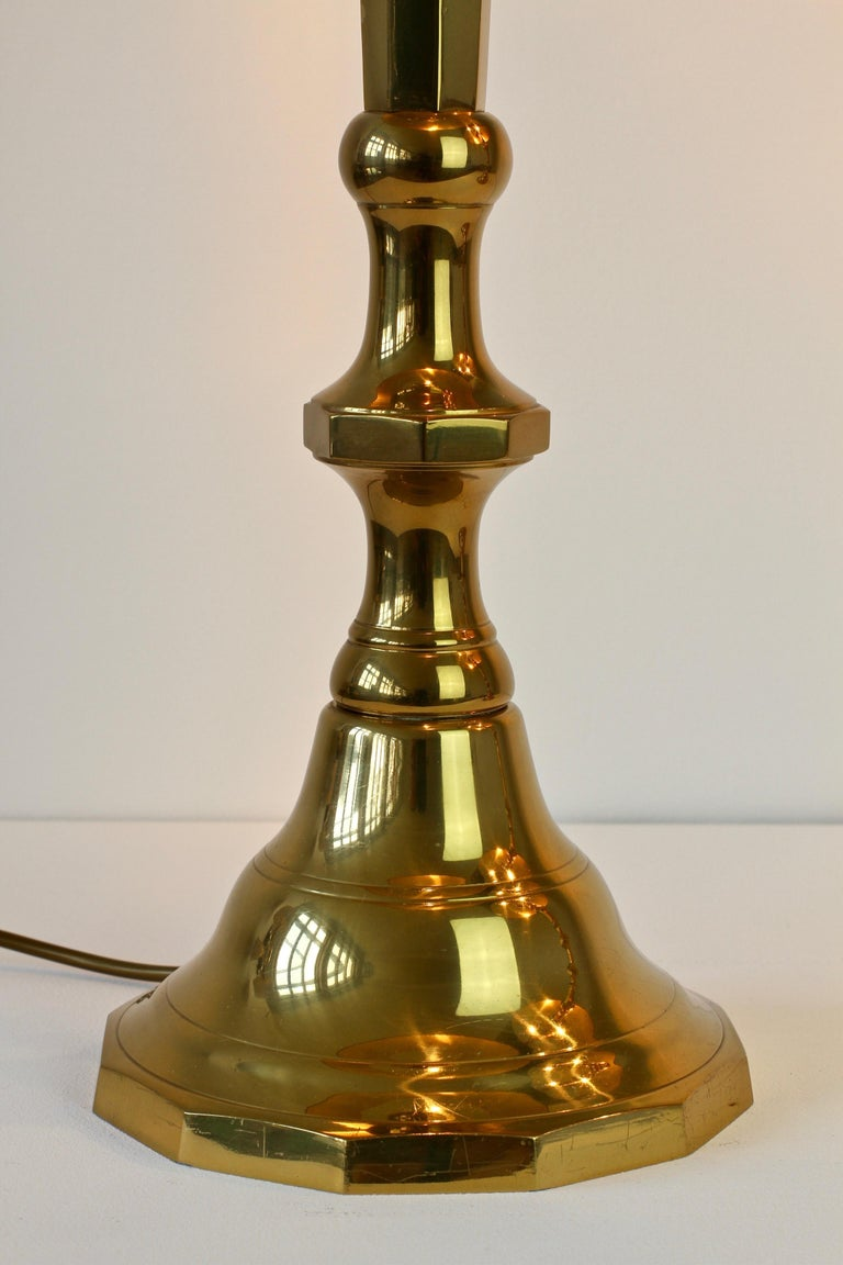 Pair of Oversized Midcentury Brass Floor / Table Lamps For Sale 10