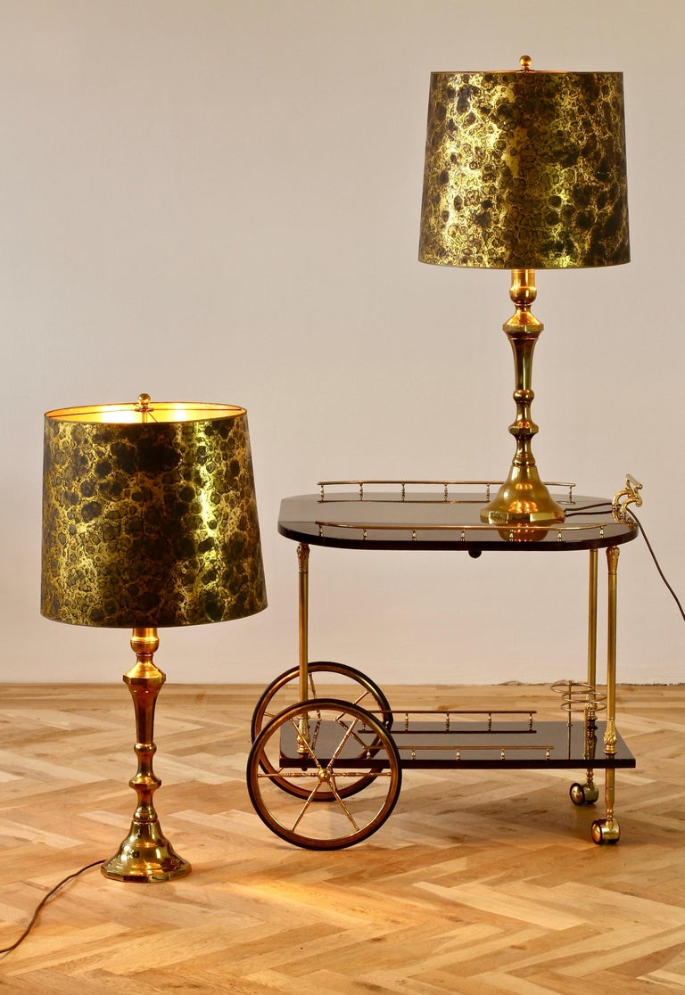 Pair of Oversized Midcentury Brass Floor / Table Lamps For Sale 13