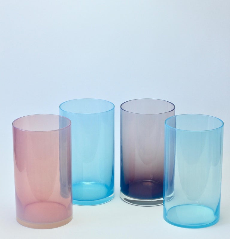 Mid-Century Modern Antonio da Ros for Cenedese Murano Glass Set of Vibrantly Colored Glass Vases For Sale