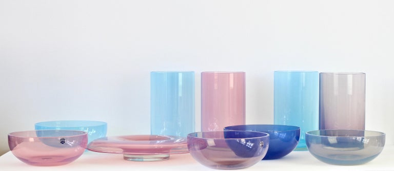 Extraordinarily rare signed set or ensemble of 'Opalino' Murano glass bowls, vases and vessels designed by Antonio da Ros (1936-2012) for Cenedese, circa 1970-1990. Wonderful translucent colors of vibrant blues, aubergine, moss green and pink.