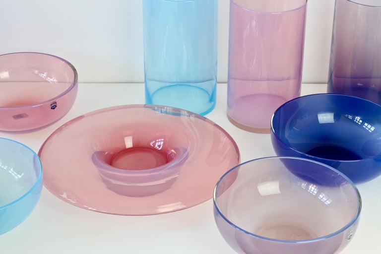 Mid-Century Modern Antonio da Ros for Cenedese Murano Glass Set of Vibrantly Colored Vessels For Sale