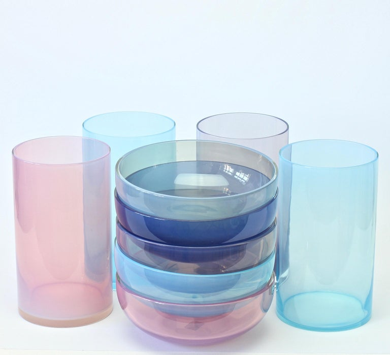 Antonio da Ros for Cenedese Murano Glass Set of Vibrantly Colored Vessels For Sale 1