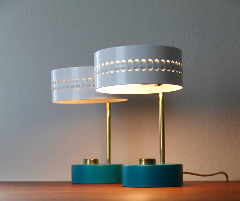 French Mid-Century Pair of Teal Green Mathieu Mategot 1950s Bedside Table Lamps For Sale