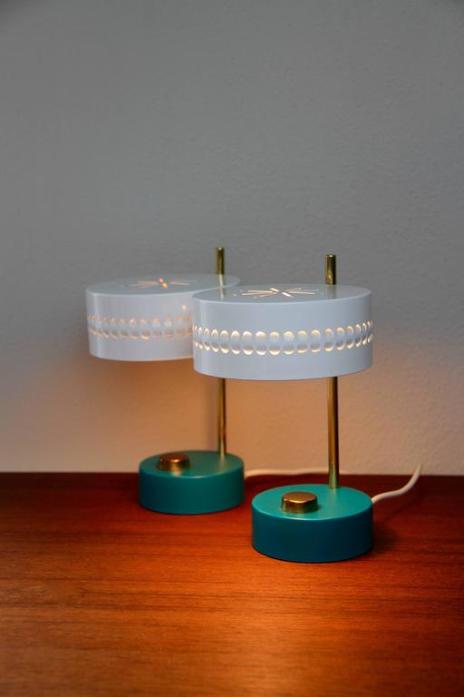 Mid-Century Pair of Teal Green Mathieu Mategot 1950s Bedside Table Lamps In Good Condition For Sale In Landau an der Isar, Bayern
