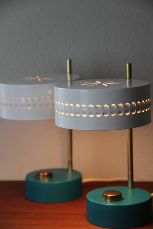 Polished Mid-Century Pair of Teal Green Mathieu Mategot 1950s Bedside Table Lamps For Sale