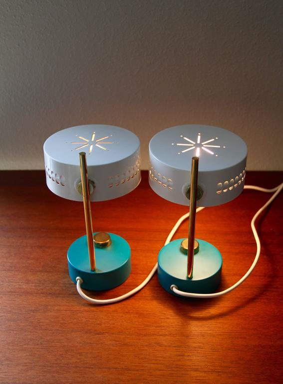 Metal Mid-Century Pair of Teal Green Mathieu Mategot 1950s Bedside Table Lamps For Sale