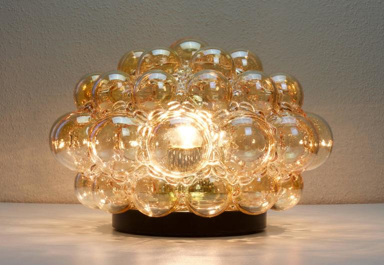 Nine Large Helena Tynell Amber Bubble Glass Flush Mount Lights for Limburg 1960s In Excellent Condition For Sale In Landau an der Isar, Bayern