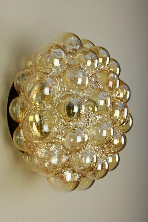 Molded Nine Large Helena Tynell Amber Bubble Glass Flush Mount Lights for Limburg 1960s For Sale