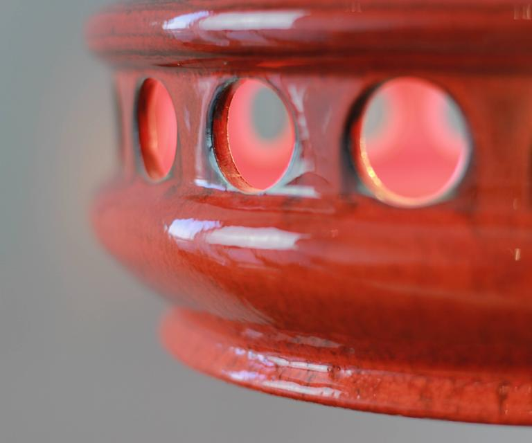 Large Red Ceramic Mid Century Pendent Light By Kaiser