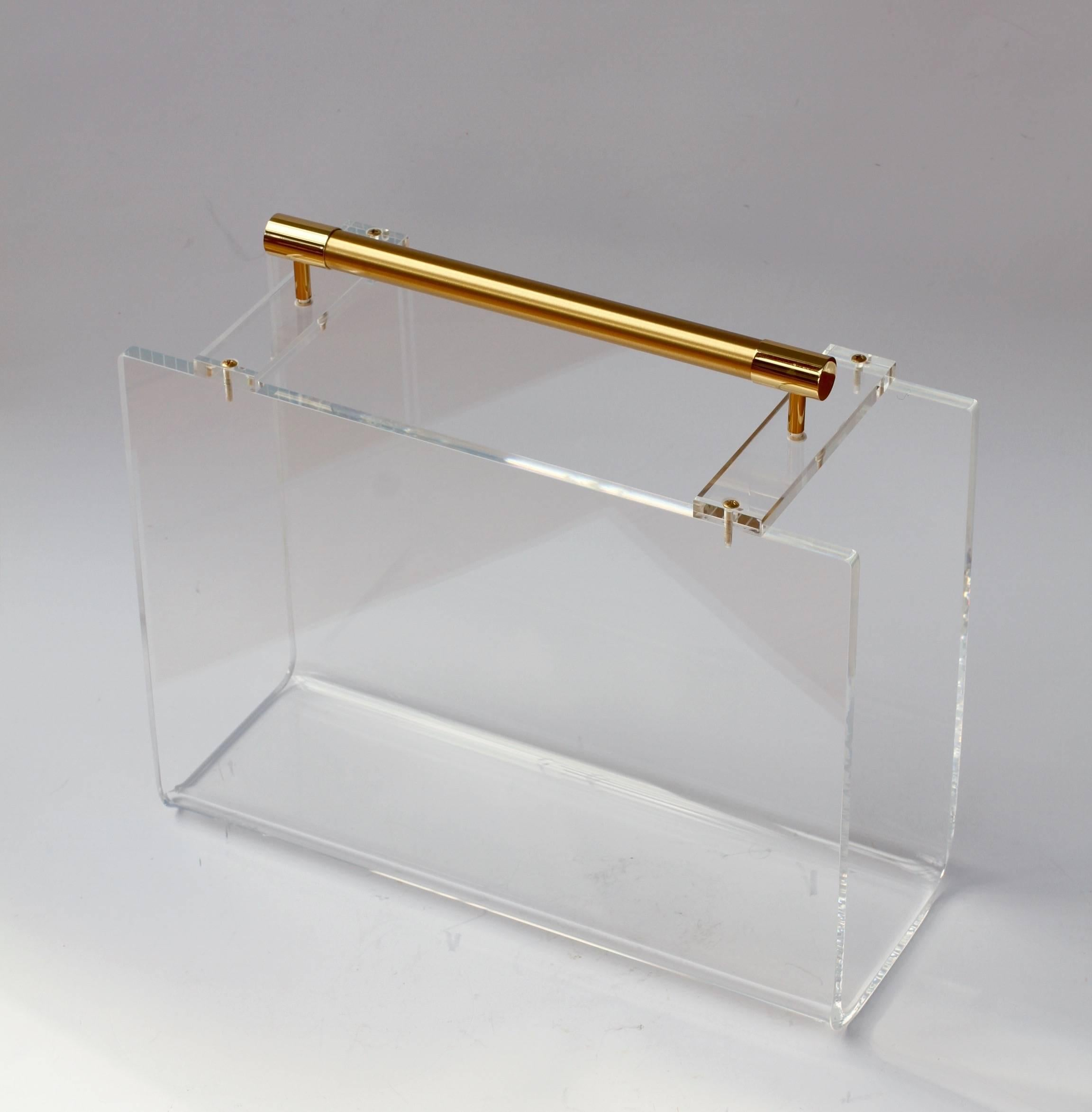 1970S Karl Springer Charles Hollis Jones Style Lucite And Gold