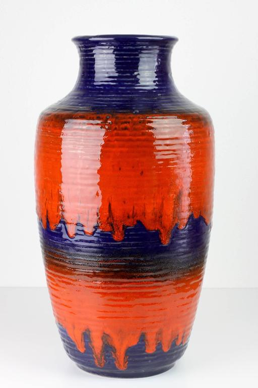 1960s Large Red And Blue Glazed West German Pottery Floor