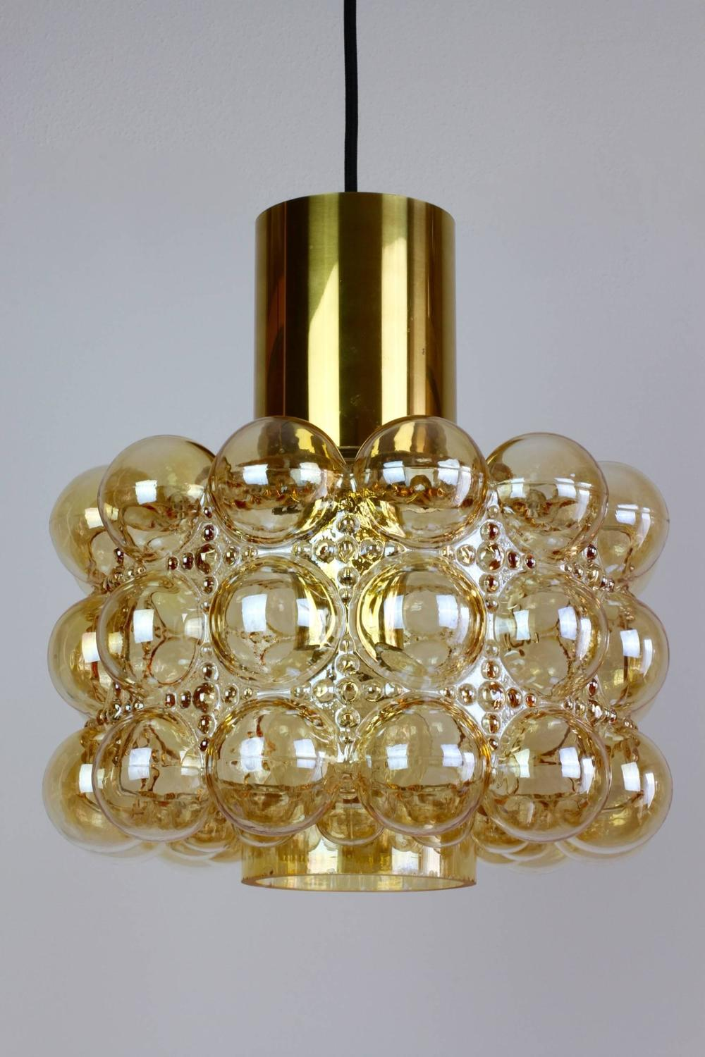 Extra Large Amber Bubble Glass Pendant Light by Helena ...