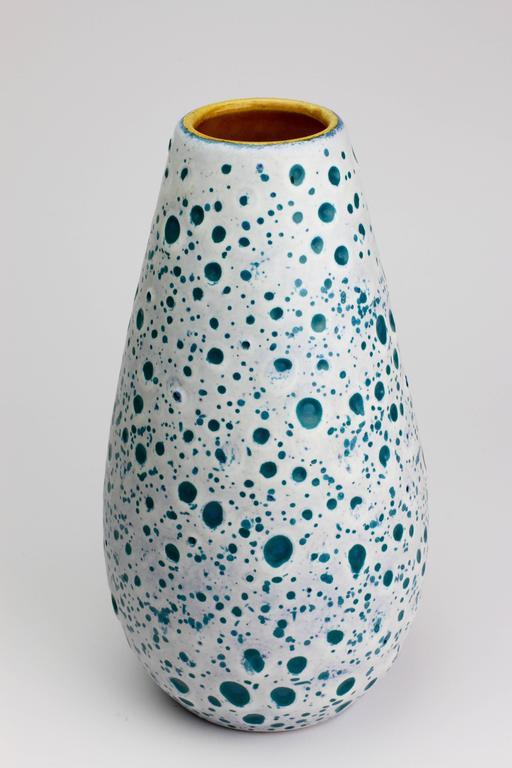 Mid-Century Modern Beautiful West German Turquoise and White Moon Crater Vase by Ü-Keramik, 1960s For Sale