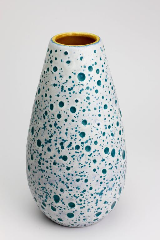 Turned Beautiful West German Turquoise and White Moon Crater Vase by Ü-Keramik, 1960s For Sale