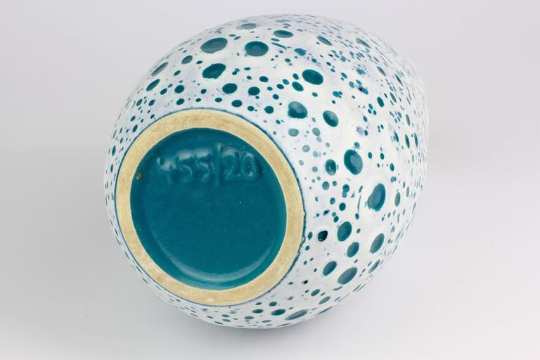 Clay Beautiful West German Turquoise and White Moon Crater Vase by Ü-Keramik, 1960s For Sale