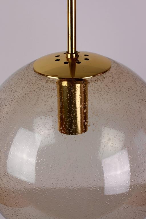 German 1970s Vintage Spherical Smoked Glass Globe Pendant Light by Glashütte Limburg For Sale