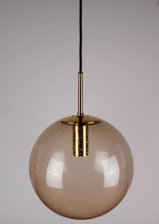Five 1970s Spherical Smoked Glass Globe Pendant Lights By