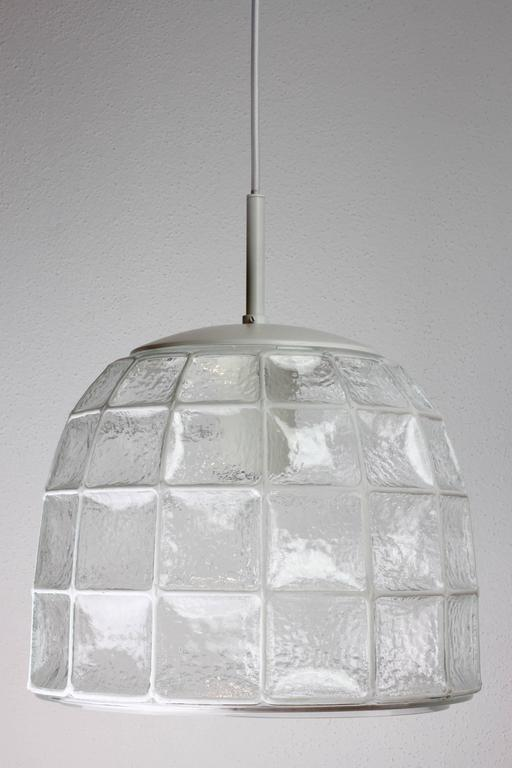 Mid-Century Modern One of a Pair 1960s White Iron & Glass Honeycomb Bell Pendant Lights by Limburg For Sale