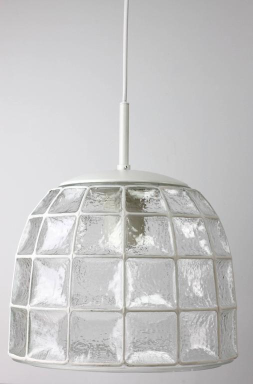 One of a Pair 1960s White Iron & Glass Honeycomb Bell Pendant Lights by Limburg For Sale 2