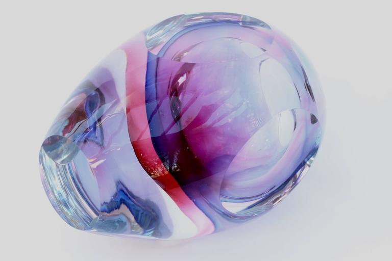 Stunning Large Italian Faceted Murano Glass Vase by Flavio Poli for Seguso For Sale 2