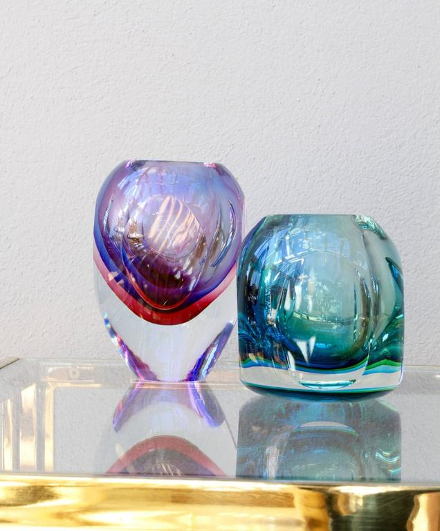 Stunning Large Italian Faceted Murano Glass Vase by Flavio Poli for Seguso For Sale 4