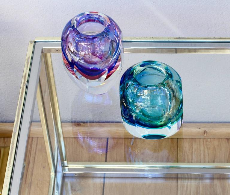 Stunning Large Italian Faceted Murano Glass Vase by Flavio Poli for Seguso For Sale 5