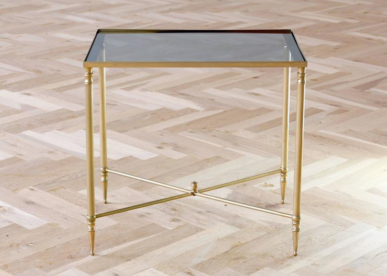 Hollywood Regency Mid-Century French Brass Side or End Table Attributed to Maison Jansen For Sale