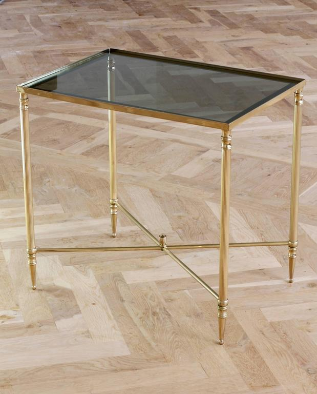 Polished Mid-Century French Brass Side or End Table Attributed to Maison Jansen For Sale