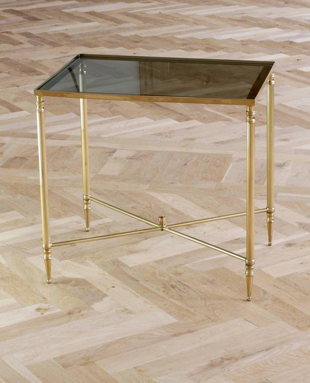 Mid-Century French Brass Side or End Table Attributed to Maison Jansen In Good Condition For Sale In Landau an der Isar, Bayern