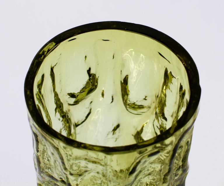 Tall Vintage Vibrant Moss Green Glass Tree Bark Vase by Ingrid Glas, circa 1970s For Sale 2